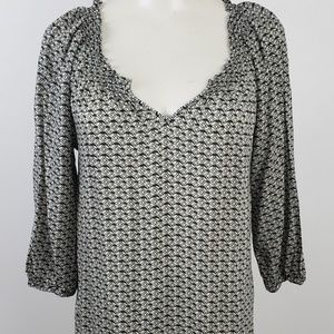 Daisy Fuentes Top Small Black Geometric Blouse